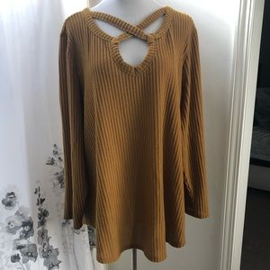 Mustard waffle knit top